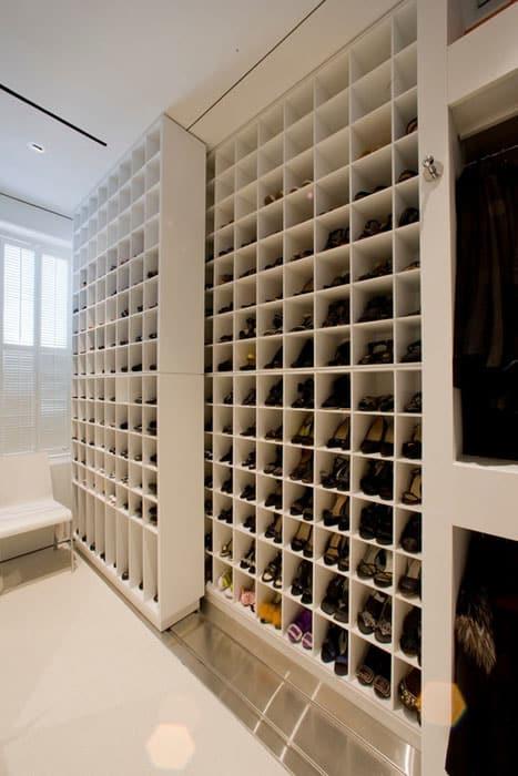Contemporary custom shoe closet