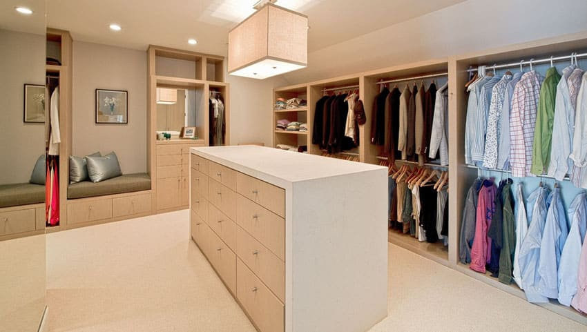 Contemporary walk in closet with sitting nook