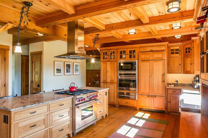 Craftsman kitchen with African rainbow granite countertops