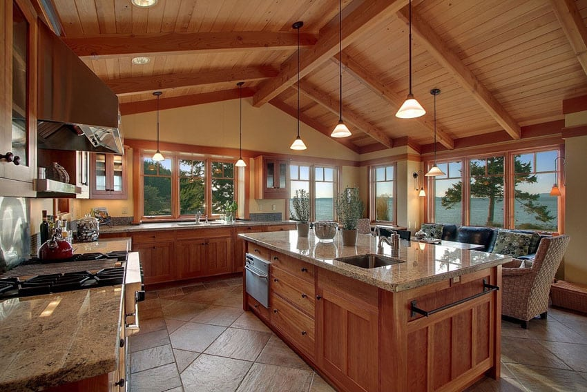 Craftsman kitchen with azurite granite and vaulted ceiling