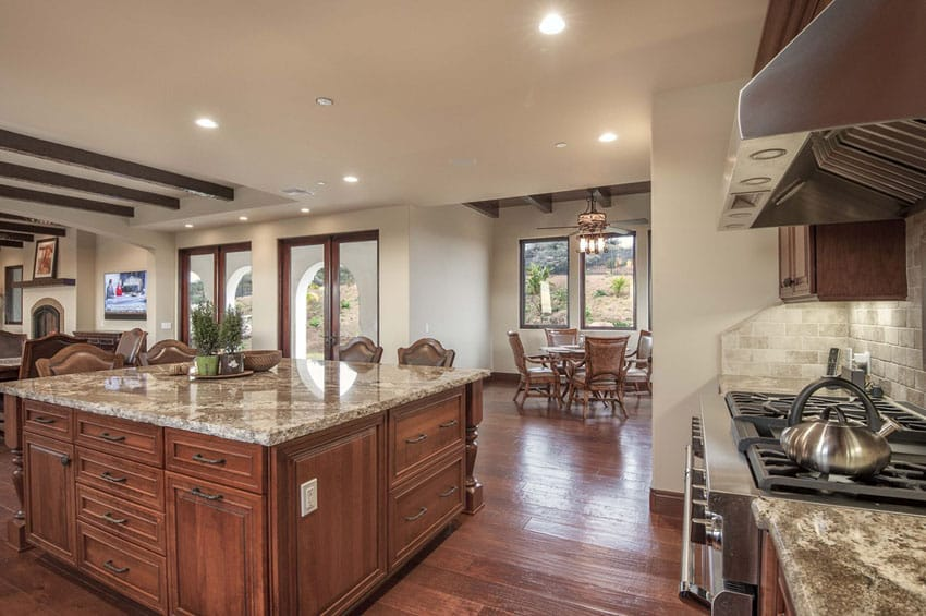 Craftsman kitchen with azurite granite counter