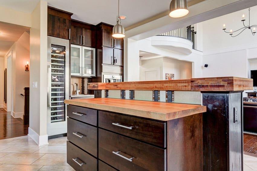 Craftsman kitchen with birch butcher block counter