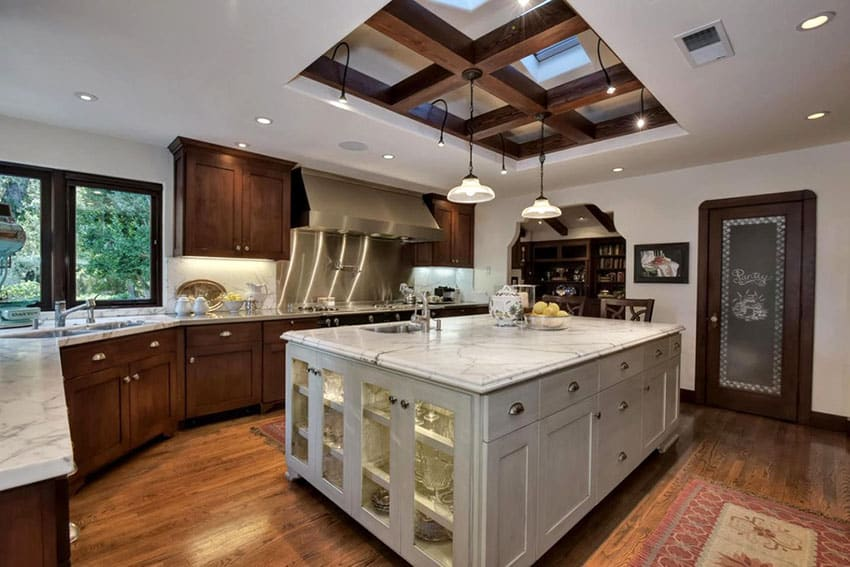 Craftsman kitchen with coffered cupola ceiling and hardwood flooring