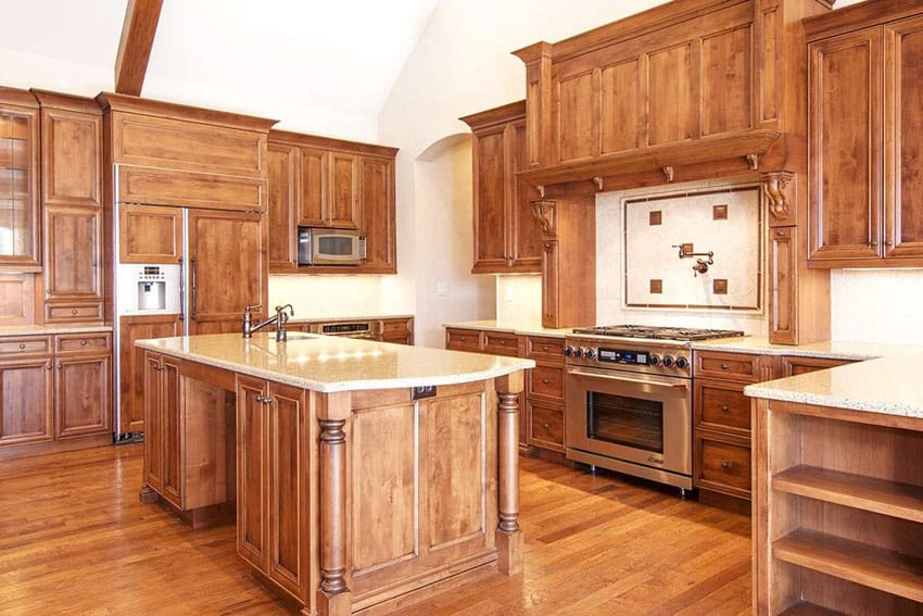Craftsman kitchen with engineered oak floors