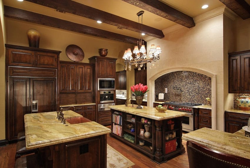 Craftsman kitchen with exposed beam ceiling and mosaic tile backsplash