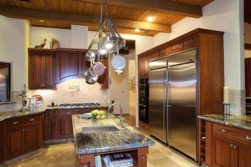 Craftsman style kitchen with hanging pots and pans