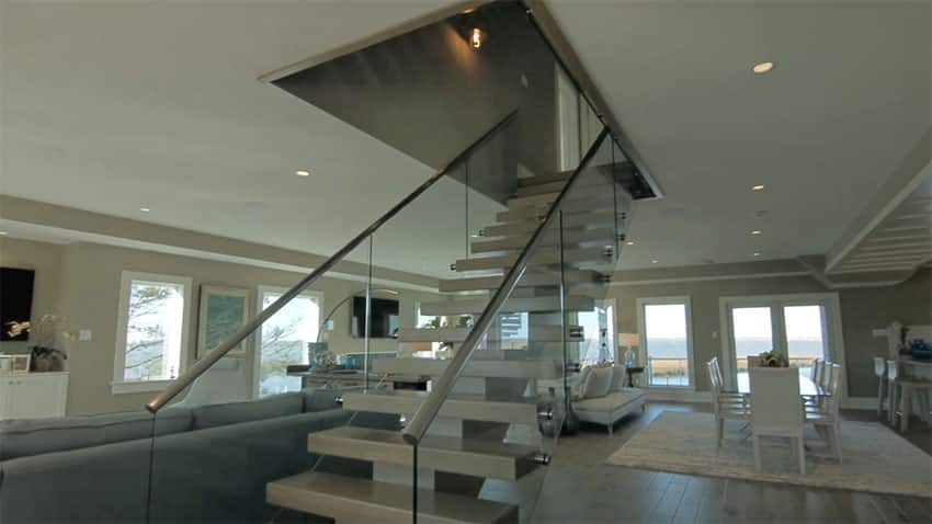 Foyer entrance to contemporary four story house