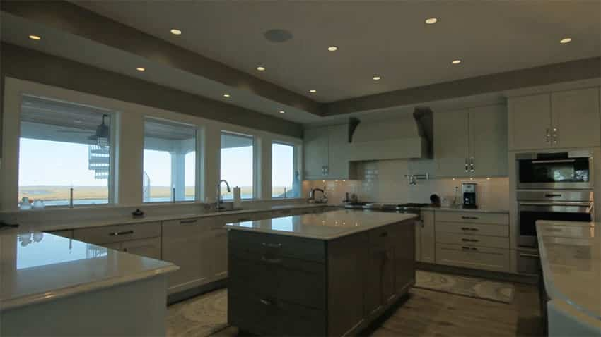 Gourmet kitchen with waterfront views