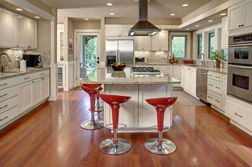 Kitchen with American cherry hardwood flooring