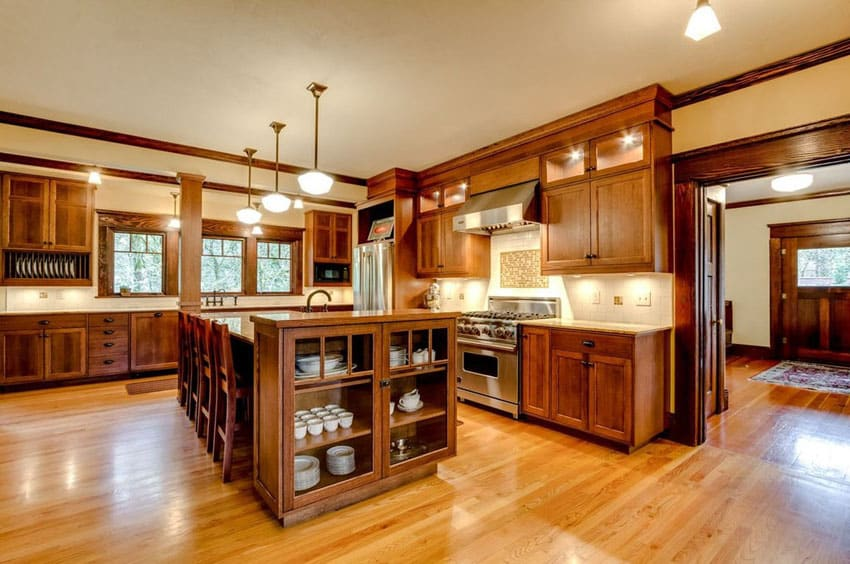 Kitchen With Oak Cabinets And Wood Floors
