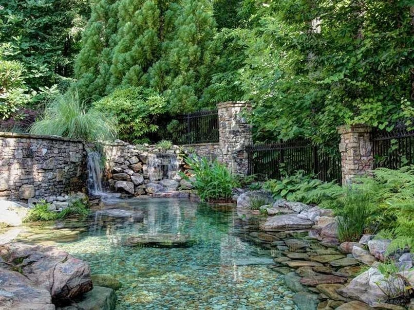 Luxury backyard with aqua pond and waterfall