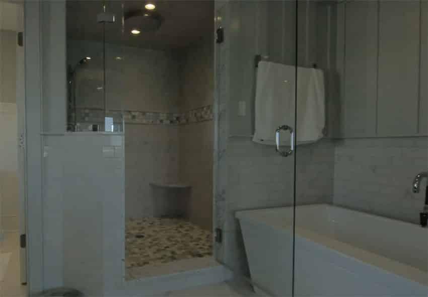 Master bathroom with soaking tub glass shower