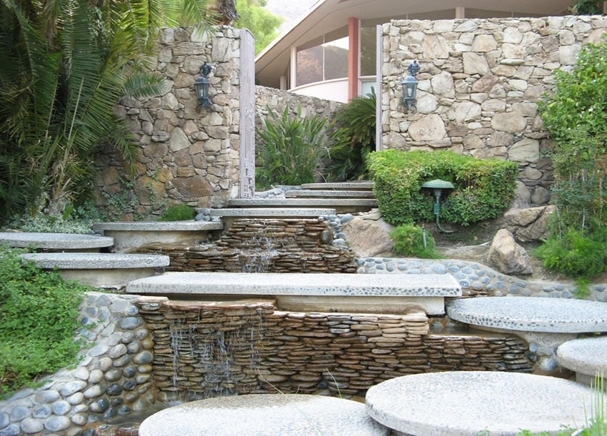 Modern stacked stone water feature in backyard