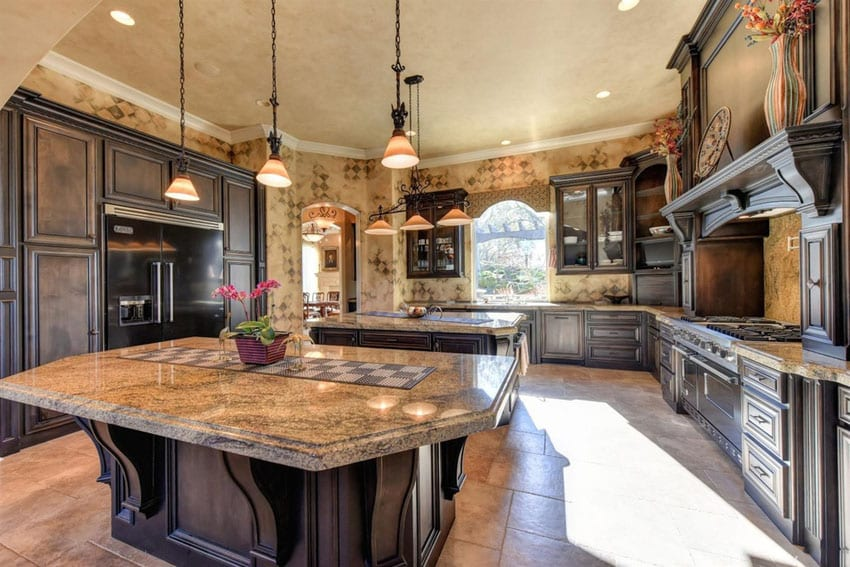 Rustic traditional kitchen with light brown granite counters dark cabinets