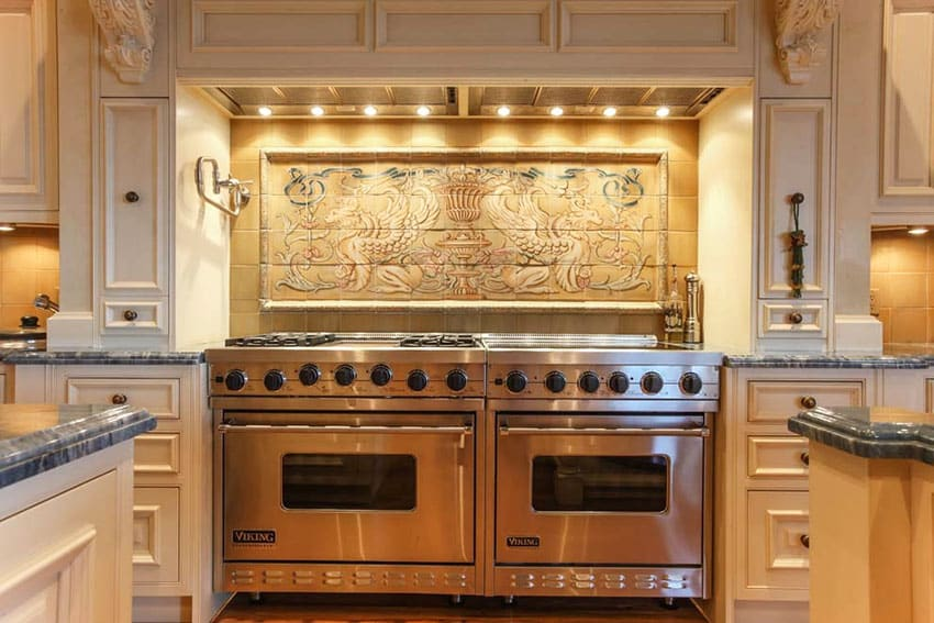 This Kitchen Has A Custom Tile Mural Backsplash With Decorative Wood