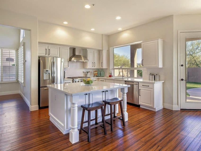 Traditional kitchen with exotic tigerwood hardwood flooring