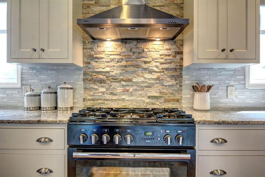 Traditional kitchen with rough quartz backsplash