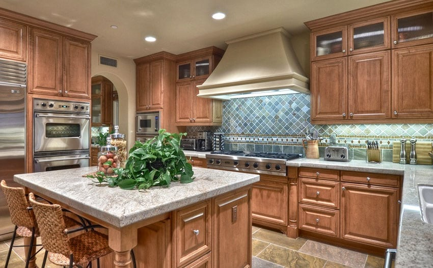 Traditional kitchen with slate backsplash