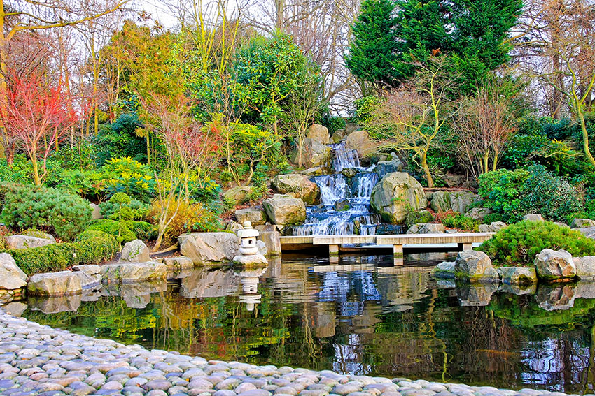 Waterfall detail in Japanese garden with blissful nature
