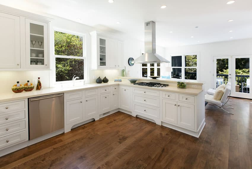 Top ten elegant kitchen with wood floors and white cabinets for Cherry flooring pros and cons