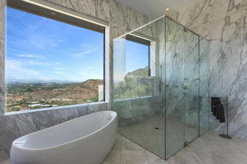 Amazing marble tile bathroom with picture views