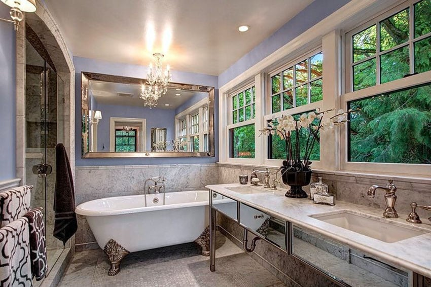 Art deco bathroom with cast iron clawfoot tub