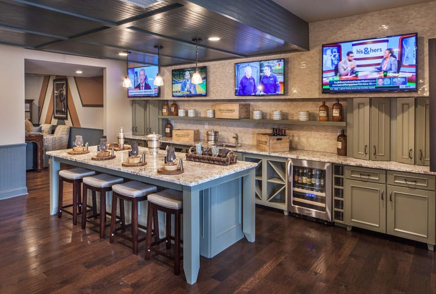 Basement home bar with large island and wine fridge