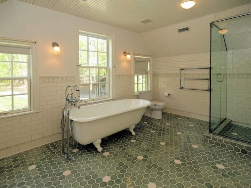 Bathroom with vintage cast iron claw foot tub