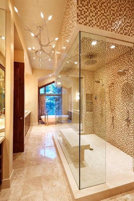 Beautiful shower with porcelain floor tiles