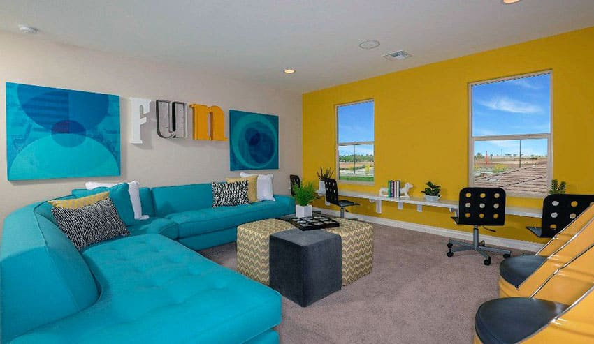 Blue and yellow themed contemporary living room