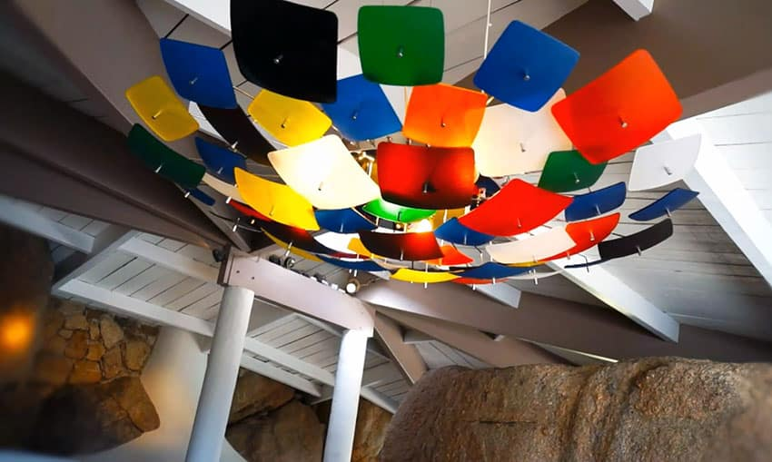 Colorful modern light fixture with square panels