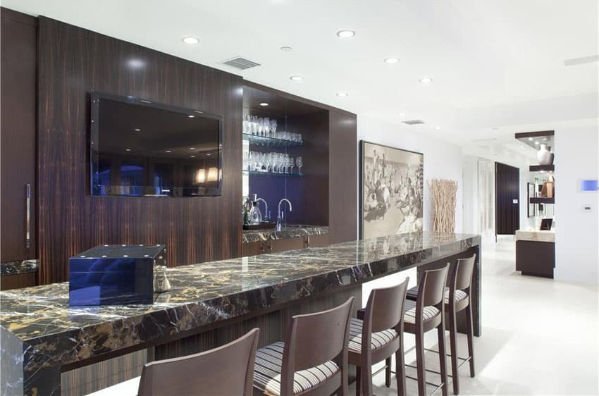 Contemporary bar with dark marble countertops