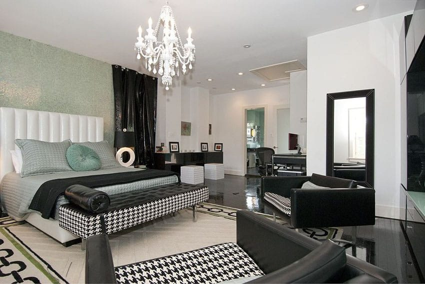 Contemporary bedroom with mosaic accent wall and black and white decor