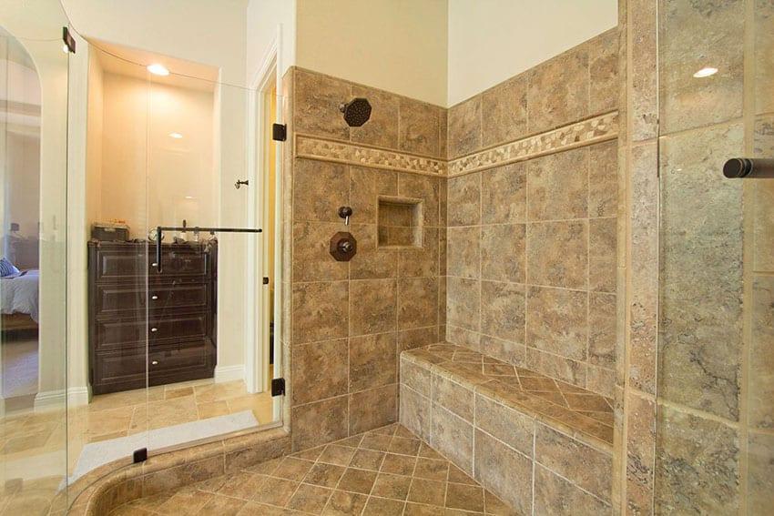 Contemporary frameless shower with porcelain tile
