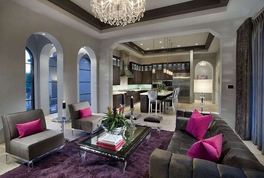 Contemporary living room with gray wall paint purple area rug and chandelier