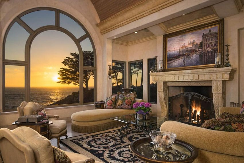 Contemporary living room with large arched window and chaise lounge