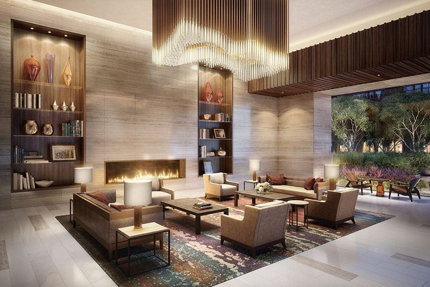 Contemporary living room with modern light fixture and open patio design