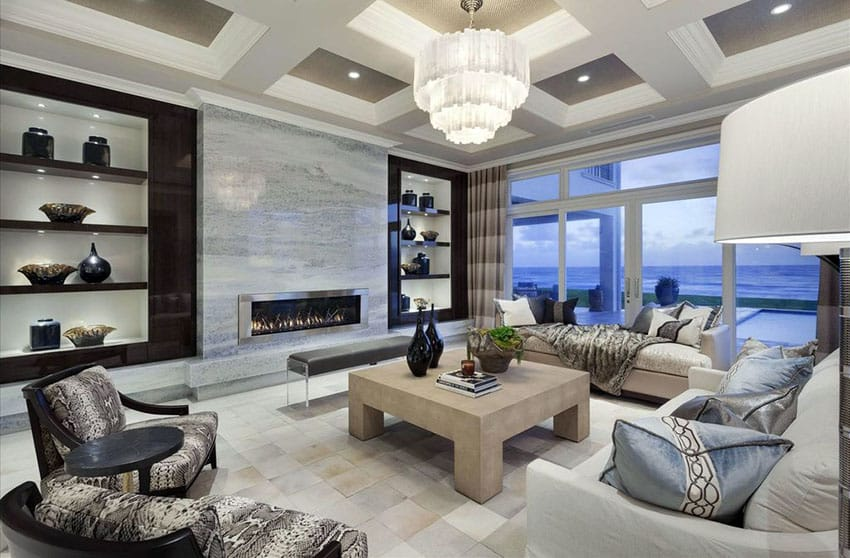 Contemporary living room with ocean views and luxurious furnishings