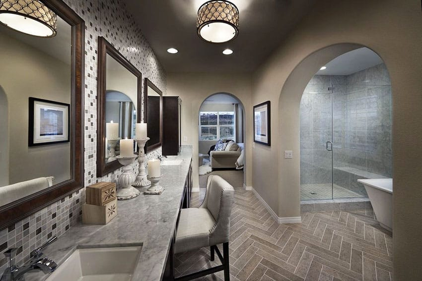 Contemporary master bathroom with mosaic tile backsplash and glass shower
