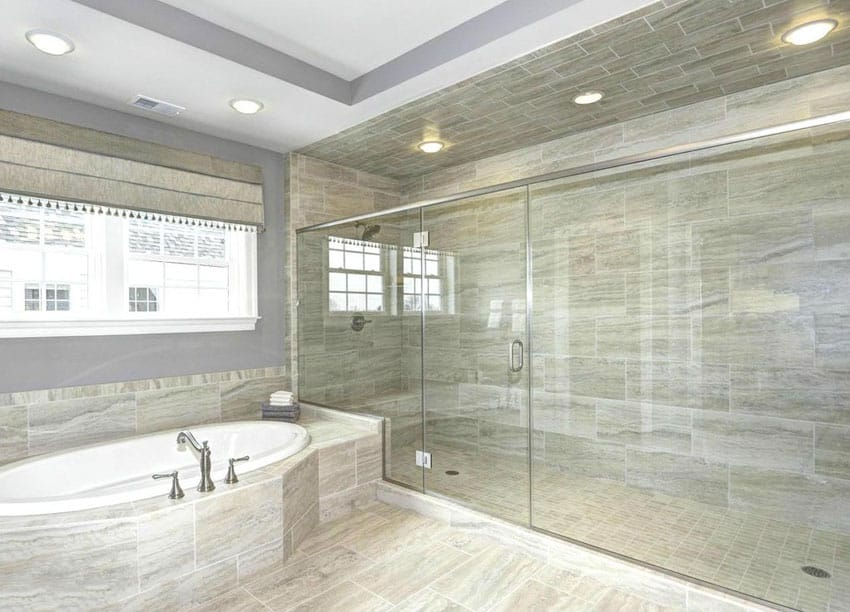 Contemporary master bathroom with oversized shower