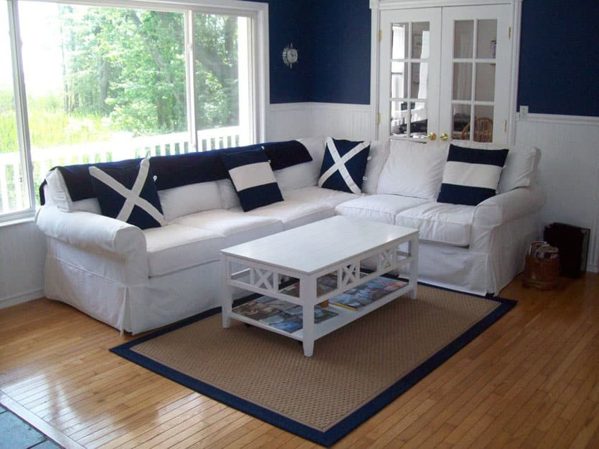 Cottage living room with navy blue walls