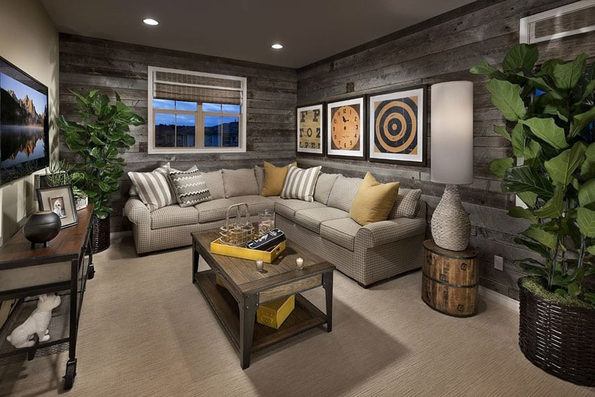 Cozy living room with wood accent walls