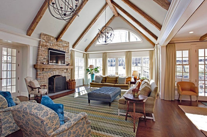 Grand Fireplace W Vaulted Ceilings Beams Open Floor: 30 Craftsman Living Rooms (Beautiful Interior Designs