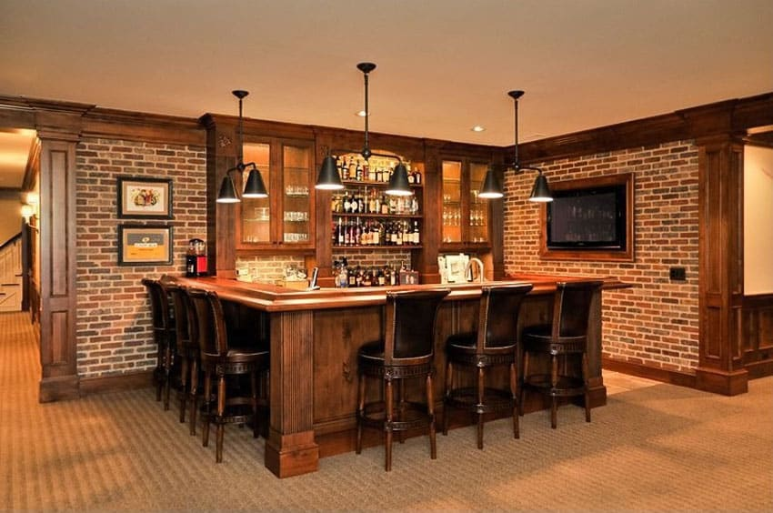 Custom brick home bar in basement