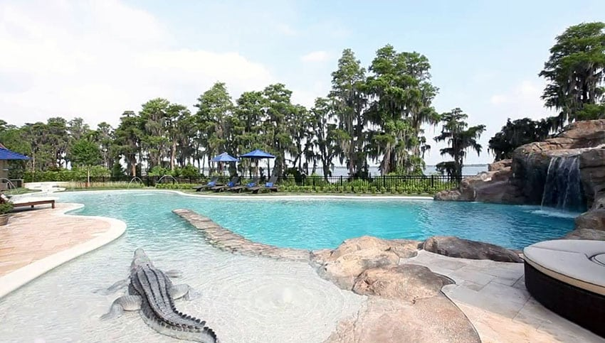 Custom swimming pool with alligator statue