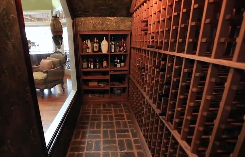 Custom wine storage with glass window to living room