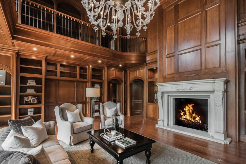 30 craftsman living rooms beautiful interior designs for Living room wood paneling decorating ideas