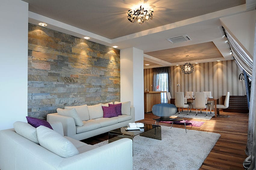 Decorated living room with slate tile accent wall