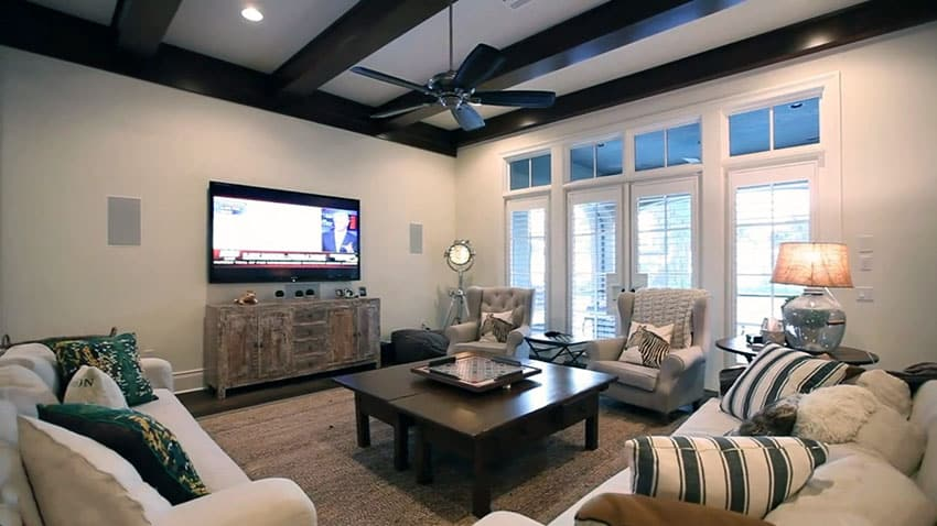 Family room in luxury home with french doors