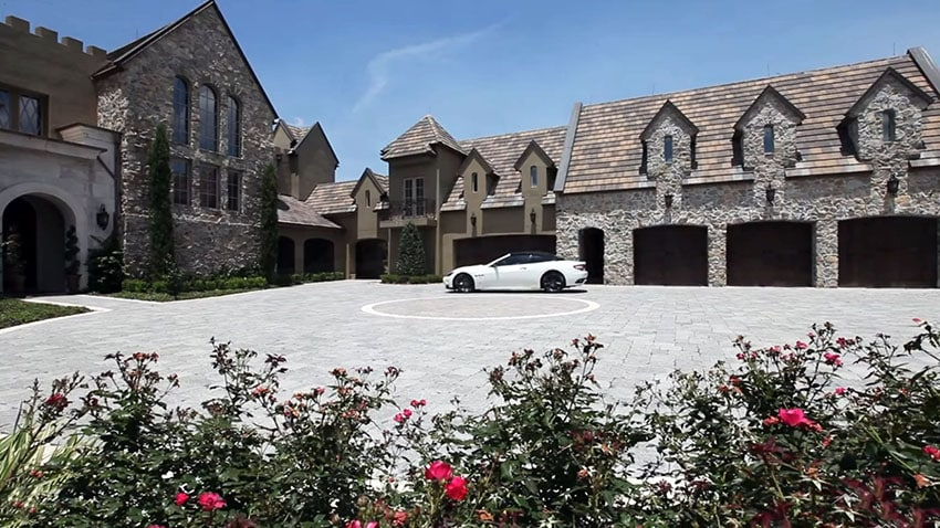 Five car garage at custom castle style home